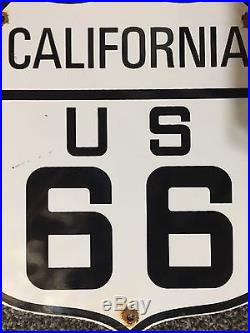 Vintage Route 66 California Us 11 1/2 Porcelain Highway, Gas & Oil Sign, Rare