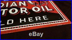 Vintage Scarce Red Indian Motor Oil 18 X 12.5 Porcelain 2 Sided Gas & Oil Sign