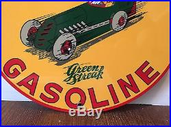 VINTAGE SHELL GREEN STREAK GASOLINE porcelain pump plate gas motor oil Mint sign
