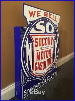 Vintage Socony Motor Oil 18 X 15 Porcelain Double Sided Gas & Oil Flange Sign