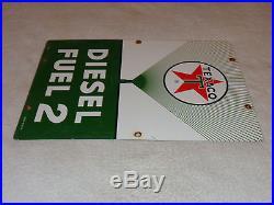 Vintage Texaco Diesel Fuel 2 Green 18 X 12 Porcelain Gas & Oil Sign! Nr