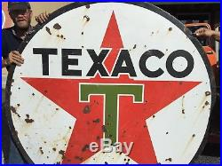 VINTAGE TEXACO T STAR porcelain GAS & OIL DOUBLE SIDED SIGN Free Pick UP ONLY
