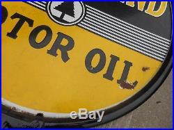 VINTAGE VERY RARE Paraland Motor Oil Round PORCELAIN Lollipop Advertising SIGN