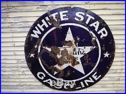 Vintage White Star Gasoline Motor Oil Porcelain Sign Detroit Michigan 1920's
