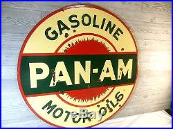 Vtg 1930'srare Pan Am Motor Oil Double Sided Porcelain Gas Oil Sign. Amoco