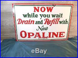 Vtg 1930'srare Sinclair Opaline Service Station Porcelain Gas Oil Sign. Nice