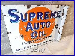 Vtg 1930rare Gulf Supreme Motor Oil Porcelain Double Sided Gas Oil Flange Sign