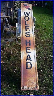 VTG Original Wolf's Head Motor Oil Metal Sign Non Porcelain Gas Oil 82 TALL