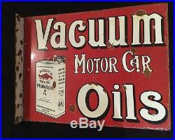 Vacuum Motor Car Oils 1940's Porcelain 2 Sided 20.5 x 16 Flange Enamel sign
