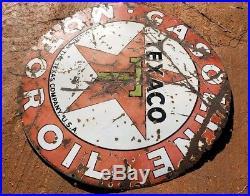 Very Old Original Authentic Texaco Porcelain Sign 42 Vintage Gasoline Motor Oil