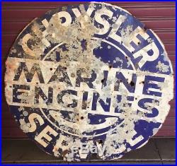Very Rare Chrysler Marine Engines Service Porcelain Dealership Double Sided Sign