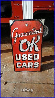 Very Rare Early OK Chevrolet Used Cars DS Porcelain Auto Gas Oil Walker Sign