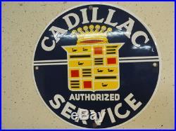 Vintage 12 Cadillac Gasolene Lubester Pump Plate Gas Oil Porcelain Old Signs