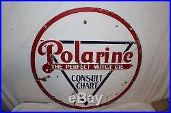 Vintage 1920's Polarine Motor Oil Gas Station 2 Sided 30 Porcelain Metal Sign