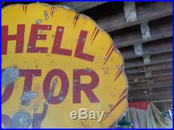 Vintage 1920's SHELL Gas Service Station Double Sided Porcelain Sign