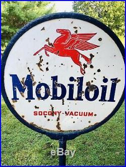 Vintage 1920s Pegasus Mobiloil Porcelain Lollipop Curb Sign With Original Base