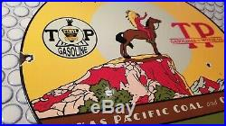 Vintage 1928 Texas Pacific Coal & Oil + Indian 12 Porcelain Metal Gasoline Sign