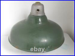 Vintage 1930's Gas Station Island Lamp with Green Porcelain Shade
