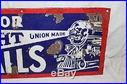 Vintage 1930's Headlight Overalls Blue Jeans Gas Oil 32 Porcelain Metal Sign