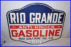 Vintage 1930's Rio Grande Anti-Knock Gasoline 2 Sided 30 Porcelain Metal Sign