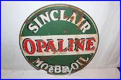 Vintage 1930's Sinclair Opaline Motor Oil 2 Sided 24 Porcelain Metal Sign