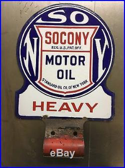 Vintage 1930's Socony Standard Heavy Motor Oil Metal Porcelain Lubester Sign