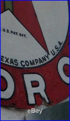 Vintage 1930's Texaco Gasoline Motor Oil 42 Porcelain Gas Station Garage Sign