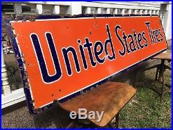 Vintage 1930's United States Tires Porcelain Sign 72 X 18
