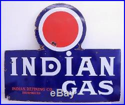 Vintage 1930s Indian Refinery Refining Gas Porcelain Sign RARE Havoline Texaco