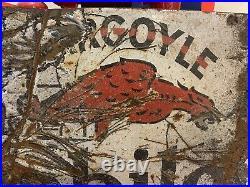 Vintage 1930s Mobiloil Gargoyle 2 Sided Porcelain Enamel Flange Sign Original