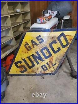 Vintage 1930s Sunoco Gas Oil Porcelain Sign