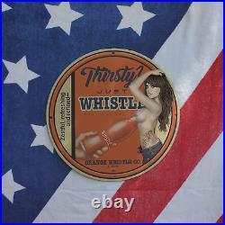 Vintage 1932 Whistle Orange Soda Co. Porcelain Gas & Oil Sign