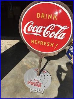Vintage 1938 Porcelain Coca-Cola Double Sided Lollipop Sign Antique Coke Gas Oil