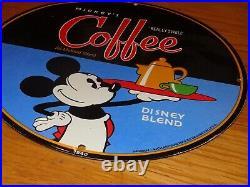 Vintage 1940 Mickey Mouse Coffee 12 Porcelain Metal Soda Pop Gasoline Oil Sign