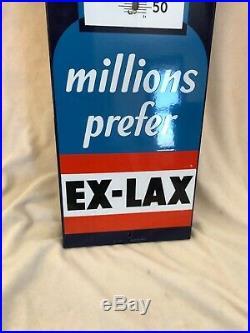 Vintage 1940's Ex-Lax Drug Medicine Gas Oil 37 Porcelain Metal Thermometer Sign