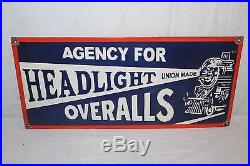Vintage 1940's Headlight Overalls Blue Jeans Gas Oil 24 Porcelain Metal Sign