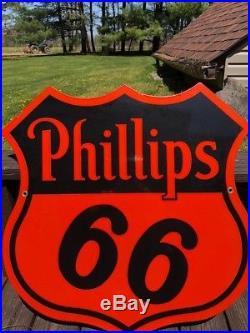 Vintage 1940's Phillips 66 Gas Station 2 Sided 30 Porcelain Metal Sign
