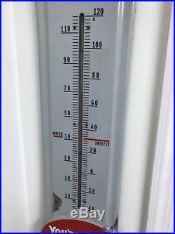 Vintage 1940's Prestone Anti-Freeze 36 Porcelain Metal Thermometer Sign