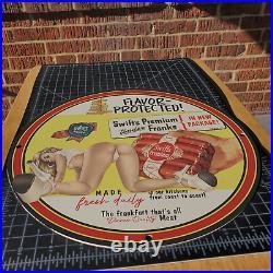 Vintage 1947 Frankfurt Swift's Premium Sausages Porcelain Gas & Oil Metal Sign