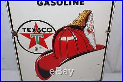 Vintage 1947 Texaco Fire-Chief Gasoline Gas Pump Plate 18 Porcelain Metal Sign