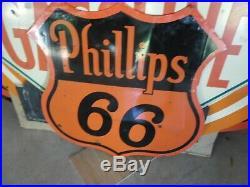 Vintage 1948 Phillips 66 Porcelain 30 Sign Some Vintage Repair But Looks Great