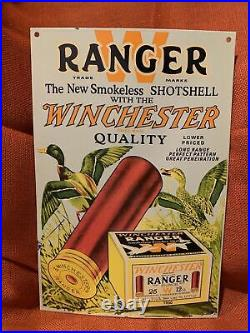 Vintage 1950 Ranger Shotshell Ammo Porcelain Enamel Sign Winchester Remington