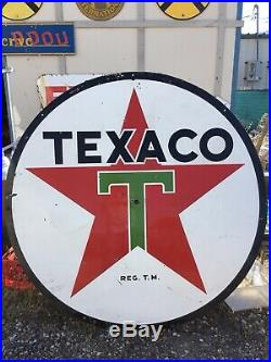 Vintage 1950s Huge! Six Foot Porcelain Texaco Double Sided Sign. WOW! Original