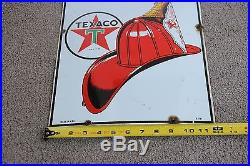 Vintage 1951 Original Texaco Fire Chief Porcelain Sign 18 X 12 The Real Deal Gas