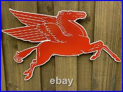 Vintage 1953 Mobil Gas Red Pegasus Horse Porcelain Metal Sign XL Double Sided
