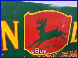 Vintage 1953 Porcelain John Deere Farm Implement Sign 24 x 9 GAS OIL COLA