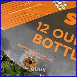 Vintage 1955 Orange Crush Bottle Porcelain Metal Soda Advertising Gas Oil Sign
