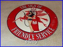 Vintage 1956 Mobil Mobilgas Woman +pegasus 11 3/4 Porcelain Metal Gas Oil Sign