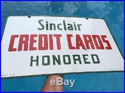 Vintage 1958 Porcelain Sinclair Credit Cards Gas Station Advertising Sign