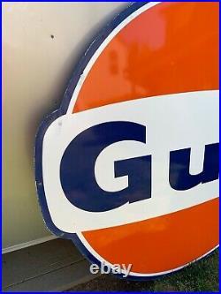 Vintage 1960s GULF Service Station 6 ft. Porcelain Sign Gas & Oil